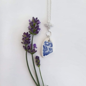 Blue & White Sea Pottery Pendant & Necklace 2