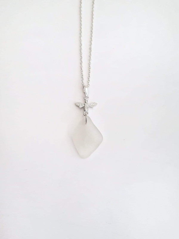 Diamond Shaped White Sea Glass Pendant & Necklace 1