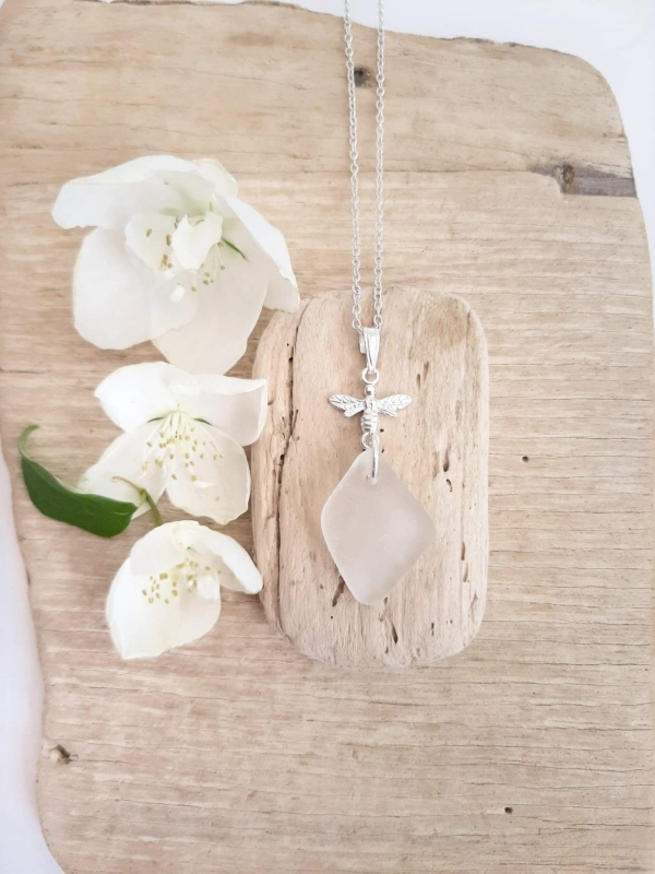 Diamond Shaped White Sea Glass Pendant & Necklace 2