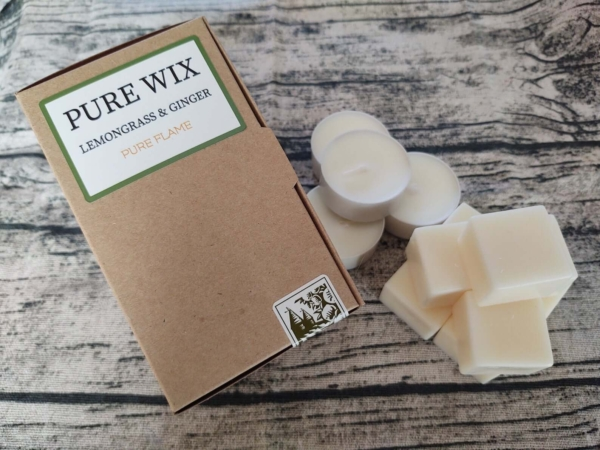 Lemongrass And Ginger Wax Melt 8 Pack With 4 Compostable Tealights (1)