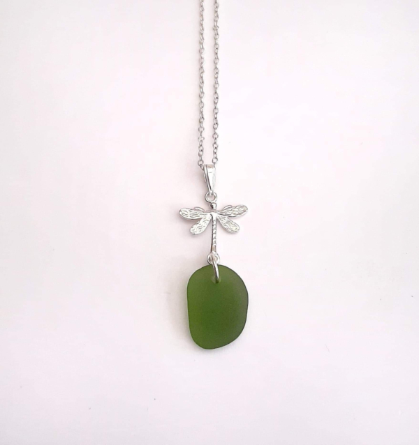 Lime Green Sea Glass Pendant & Necklace 1