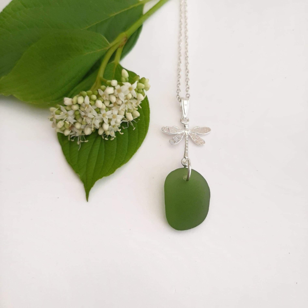 Lime Green Sea Glass Pendant & Necklace 2