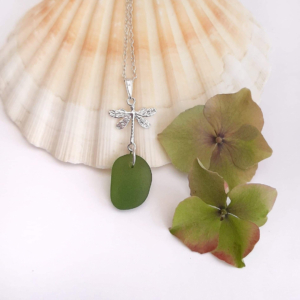 Lime Green Sea Glass Pendant & Necklace