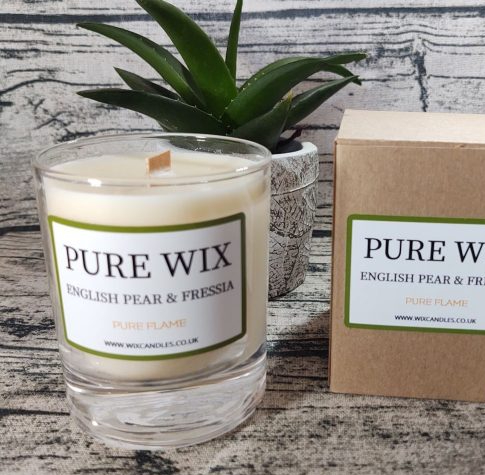 Pure Wix - Medium English Pear And Fressia Maple Wick Luxury Candle (1)