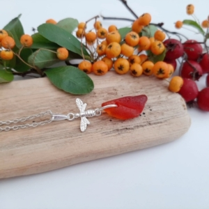 Red Sea Glass Pendant & Necklace 2